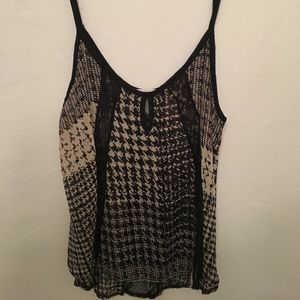 Sheer houndstooth and lace top